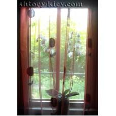 Удлиненные шторы и гардина на тесьме